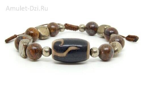 Бусина Дзи «Руи» в браслете из бронзита и пирита