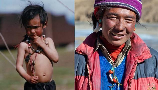 Тибетцы носят Дзи с раннего детства