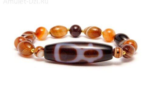 Бусина Дзи «Бог богатства» в браслете из коричневого агата