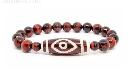 Бусина Дзи «Глаз Будды» в браслете из бычьего глаза