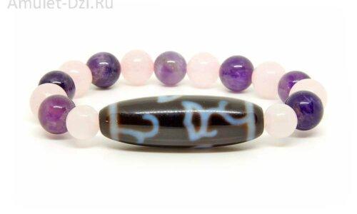 Бусина Дзи «Лотос» в браслете из аметиста и розового кварца