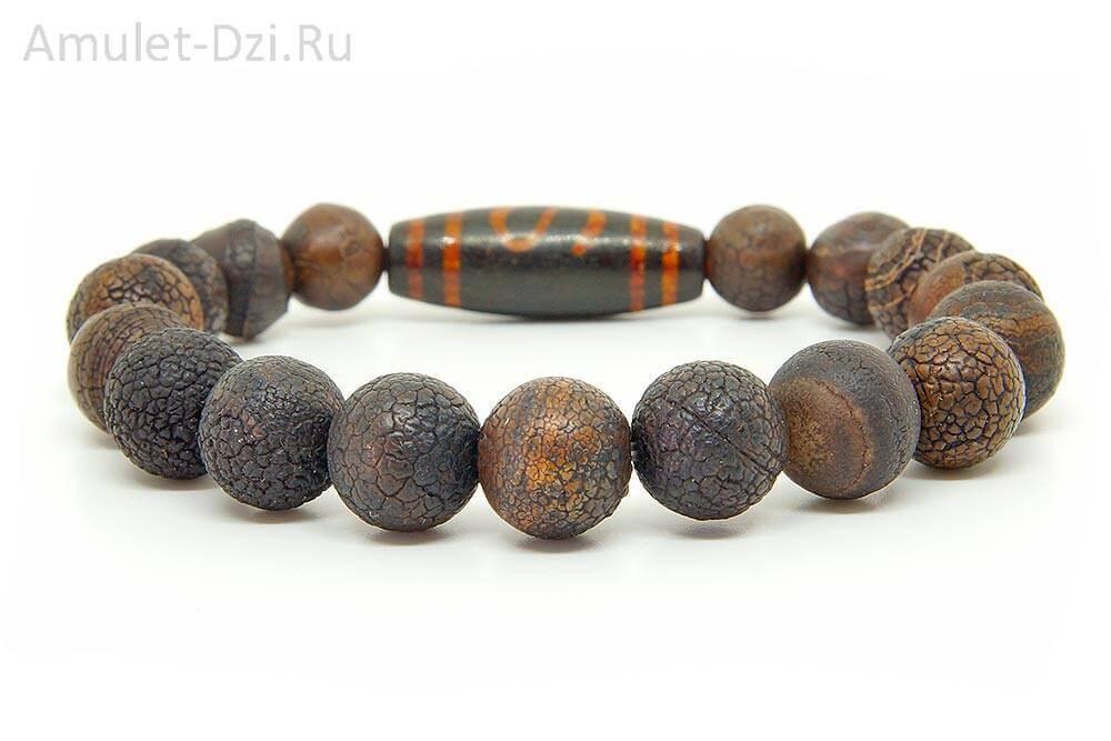 Бусина Дзи «Денежный крючок» в браслете из кракелированного агата