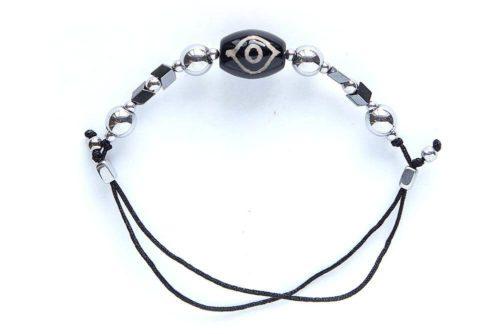 Бусина Дзи «Глаз Будды» в мини-браслете с гематитом