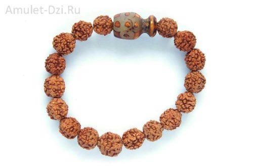 Бусина Дзи «Гаруда» в браслете из рудракши