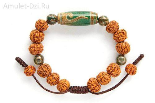 Бусина Дзи «Руи» в браслете из рудракши