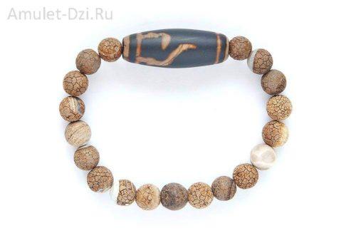 Бусина Дзи «Руи» в браслете из матового агата