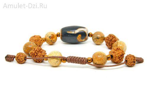 Бусина Дзи «Руи» в браслете из яшмы и рудракши
