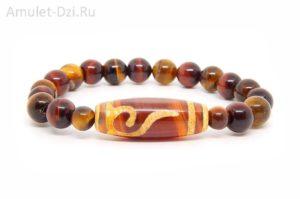 Бусина Дзи «Руи» в браслете из тигрового и бычьего глаза