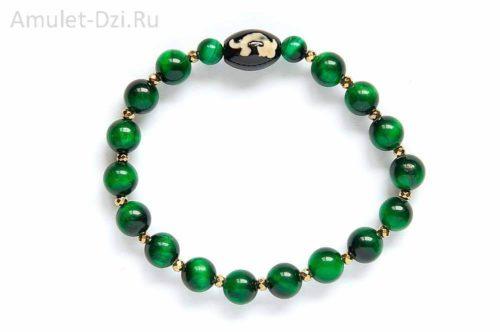 Бусина Дзи «Зеленая Тара» в браслете из тигрового глаза