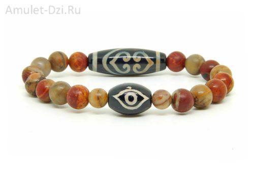 Бусина Дзи «Ваджра» и «Глаз Будды» в браслете из яшмы-пикассо