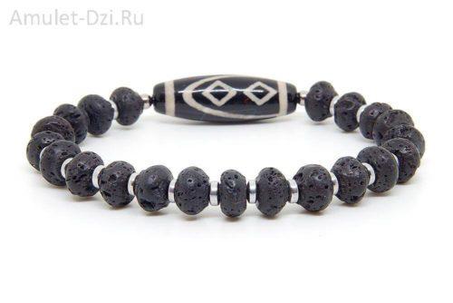 Бусина Дзи «Ваджра» в браслете из лавы